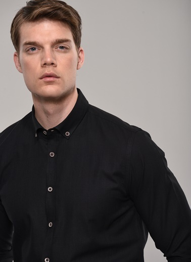 People By Fabrika Düğmeli Yaka Gömlek Siyah